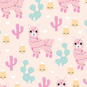 Kawaii Christmas lights and seasonal llama holiday cactus tree print soft pastel girls
