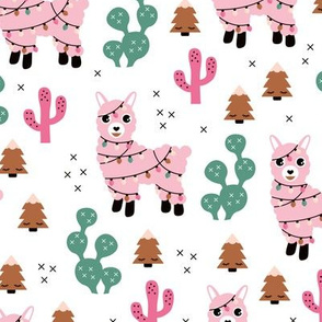 Kawaii Christmas lights and seasonal llama holiday cactus tree print pink copper green