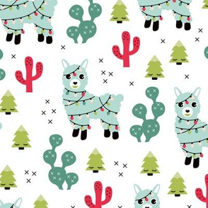 Kawaii Christmas lights and seasonal llama holiday cactus tree print green mint red