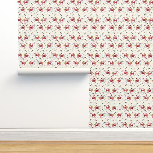 Classic Nordic style Christmas fabric heart garland in cream and white 100cm.