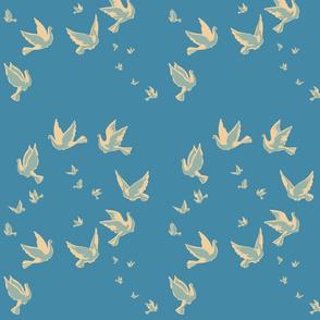 Up Doves pattern blue