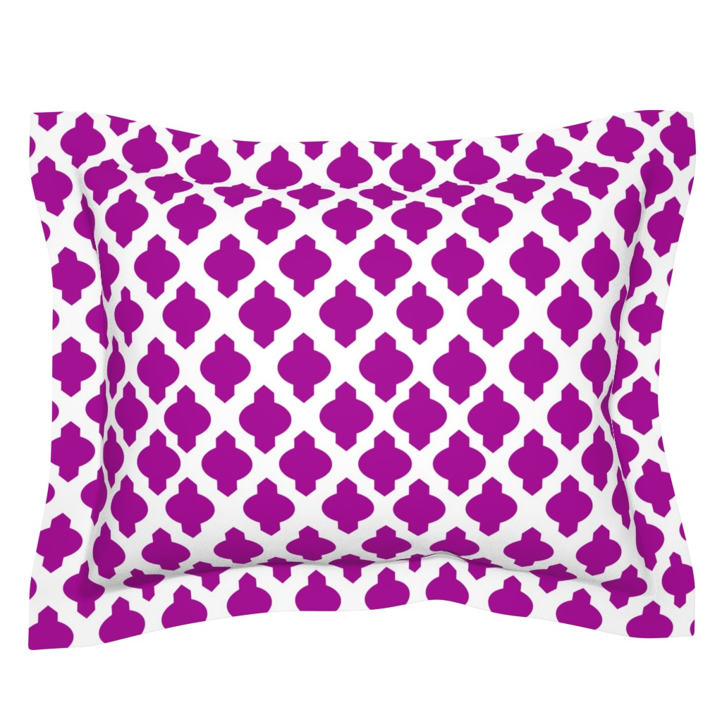 Sebright Pillow Sham featuring Moroccan Ogee Damask // Fuchsia  by theartwerks