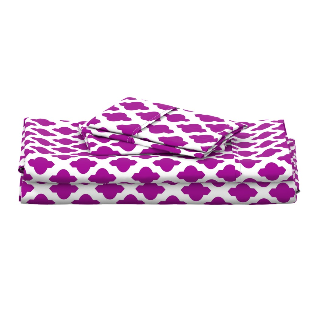 Langshan Full Bed Set featuring Moroccan Ogee Damask // Fuchsia  by theartwerks