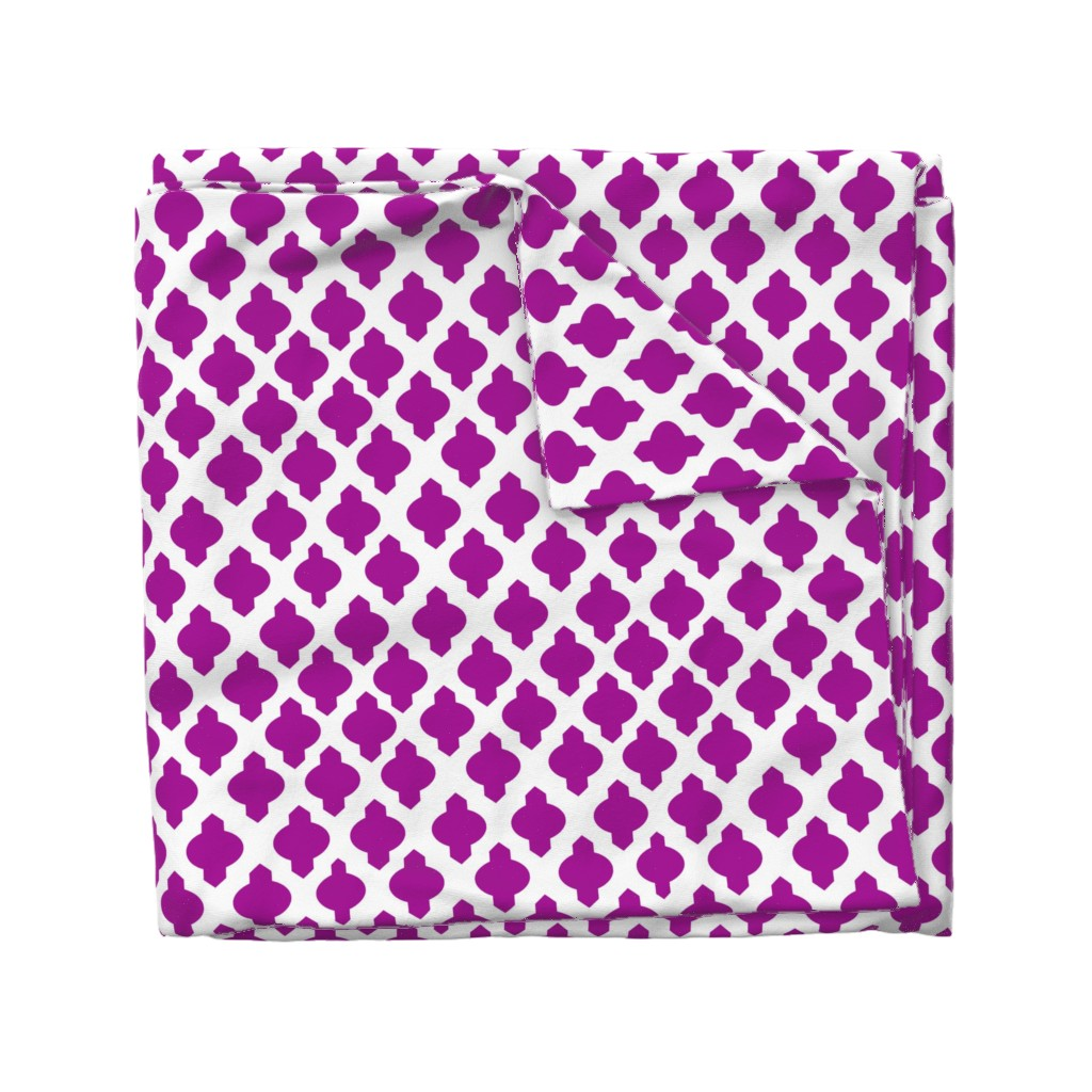 Wyandotte Duvet Cover featuring Moroccan Ogee Damask // Fuchsia  by theartwerks