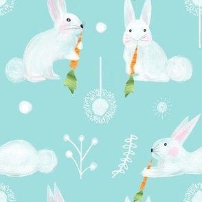 Colette's Large scale bunnies- aqua