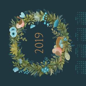 Wreath Tea Towel Calendar