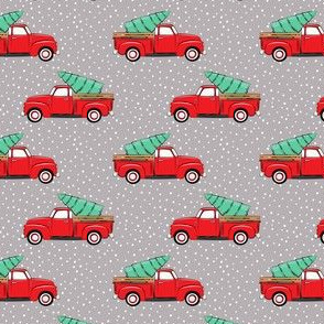 (small scale) vintage truck with tree - red on grey
