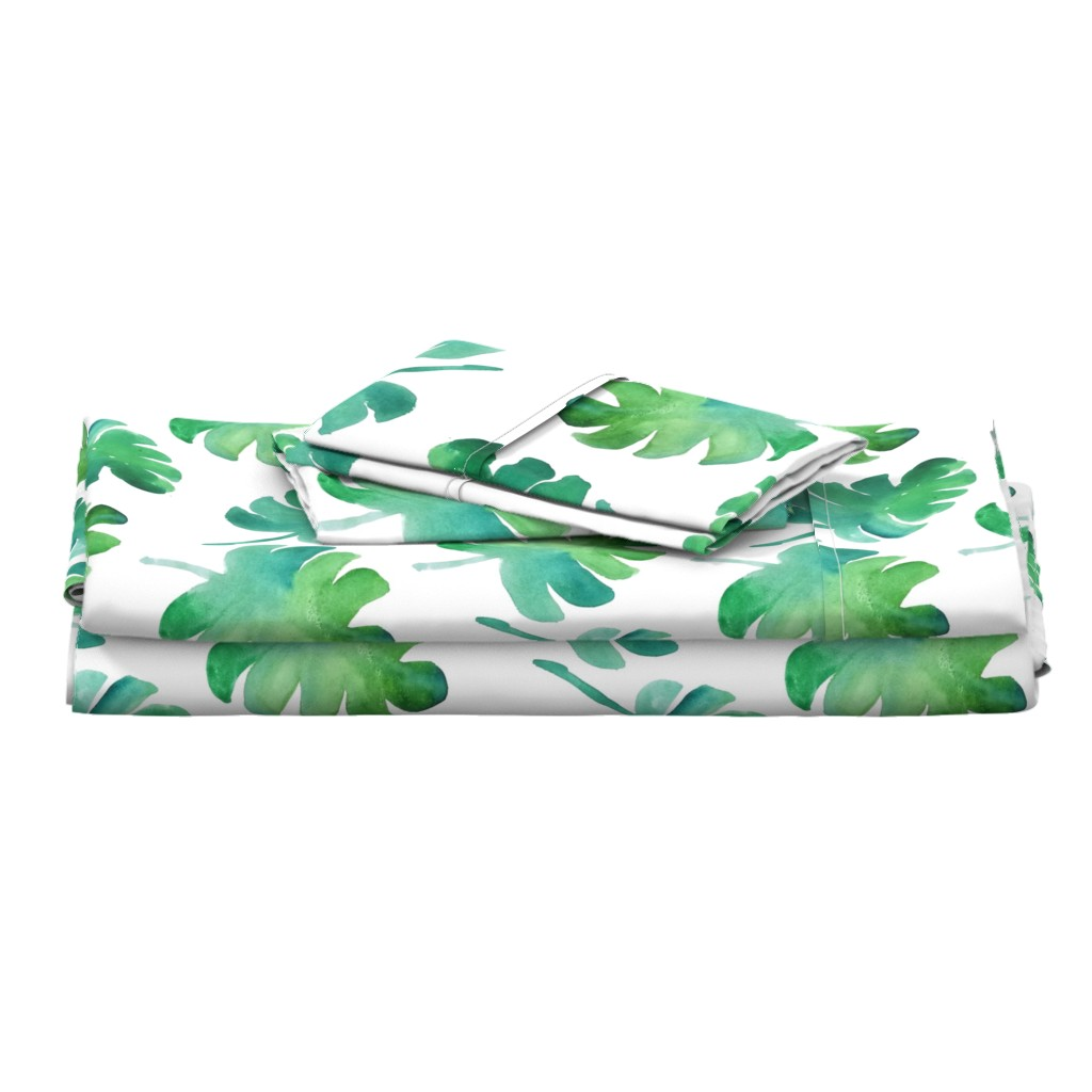 Langshan Full Bed Set featuring monstera watercolor by mrshervi