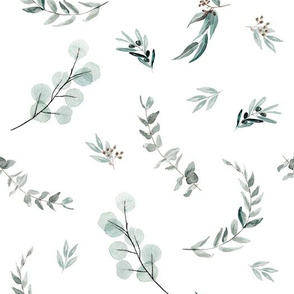 Spaced Eucalyptus Wallpaper Australian Natives leaves - Large Scale Jumbo Size - sparse edition