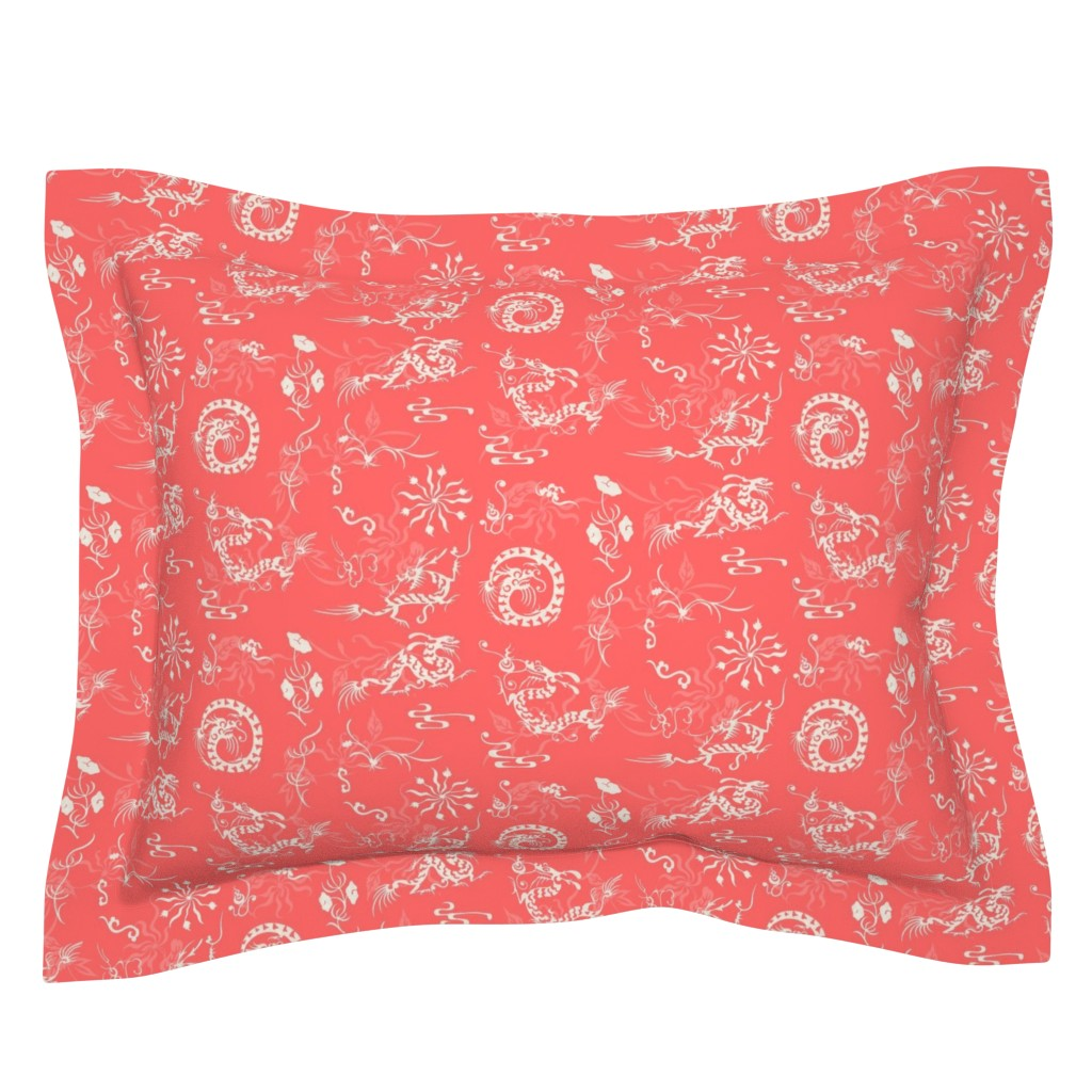 Sebright Pillow Sham featuring The Legend of the  Dragon and the Pearl_ Lucky Red by poolofblue