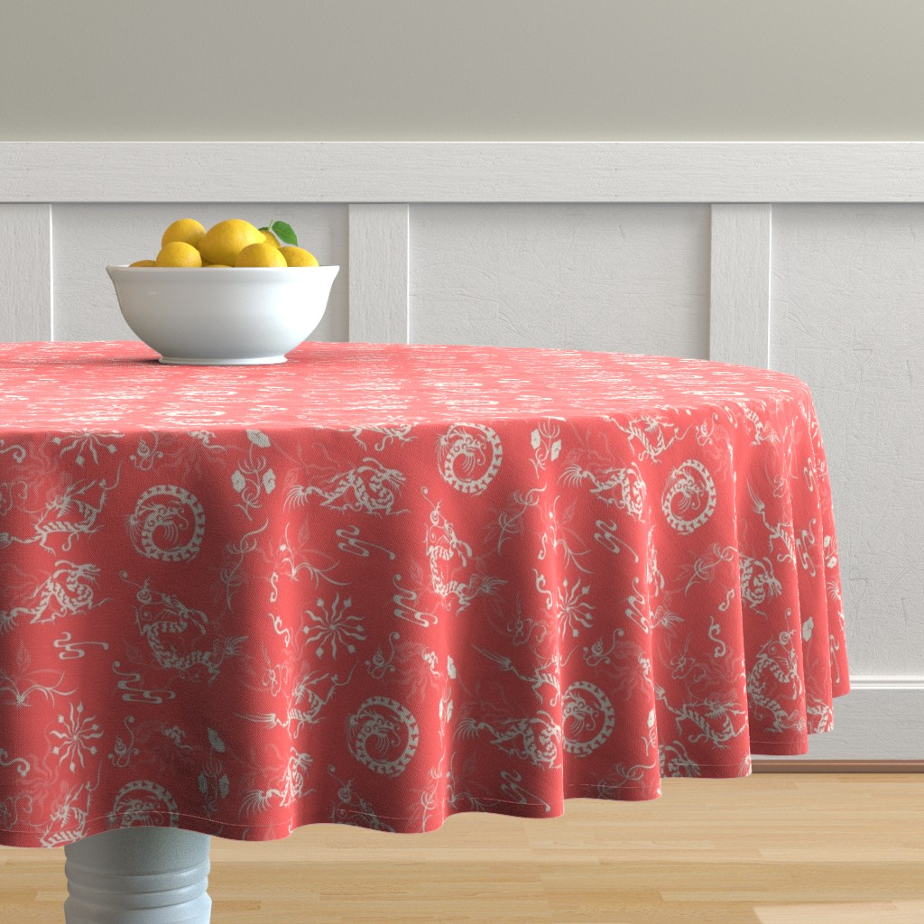 Malay Round Tablecloth featuring The Legend of the  Dragon and the Pearl_ Lucky Red by poolofblue