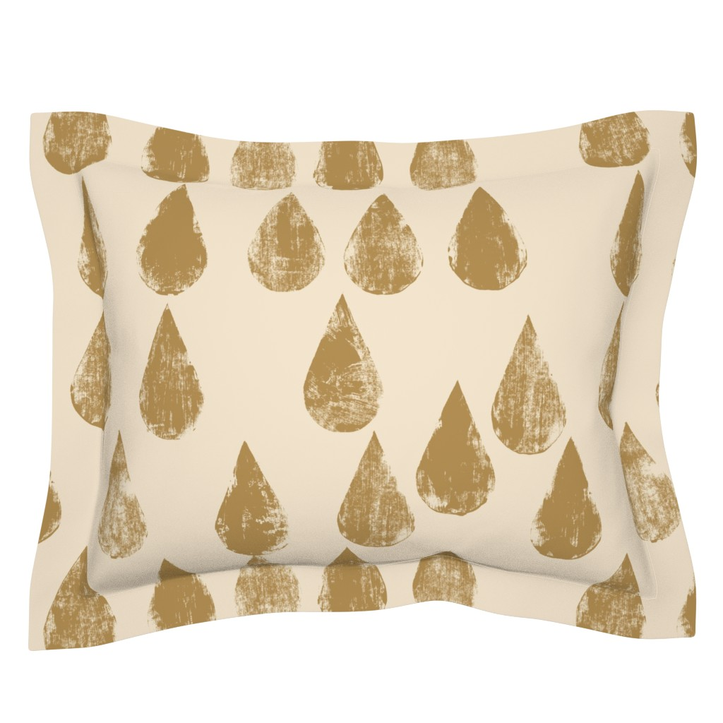 Sebright Pillow Sham featuring Golden drops by juliaschumacher