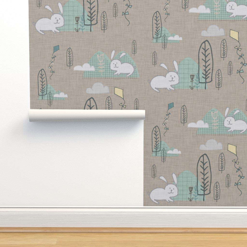 Isobar Durable Wallpaper featuring CUTE BUNNY FOREST  by bruxamagica