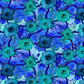 Watercolor Trellis in Blue