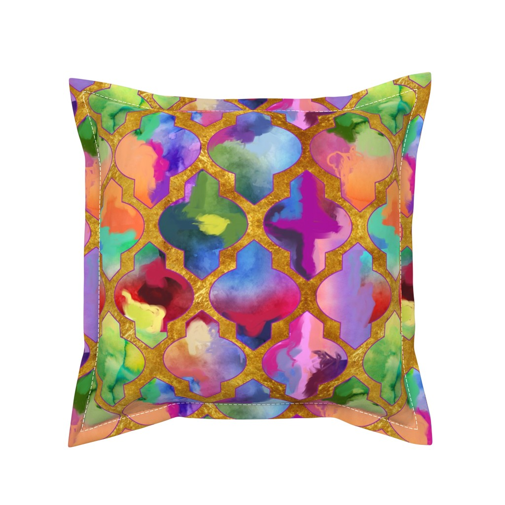 Serama Throw Pillow featuring Rainbow Painted Moroccan Tile Ogee Pattern// Gold by theartwerks