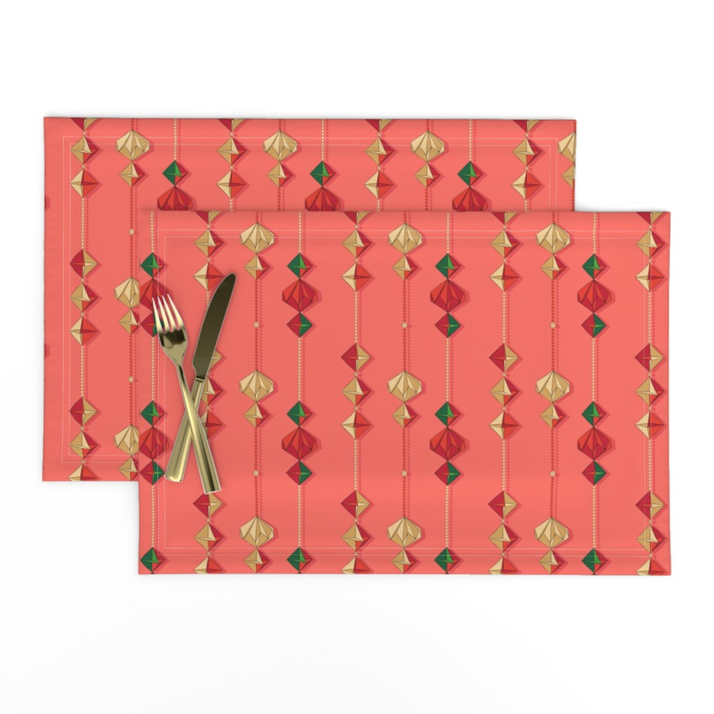Lamona Cloth Placemats featuring Paper decorations on coral by nadyabasos