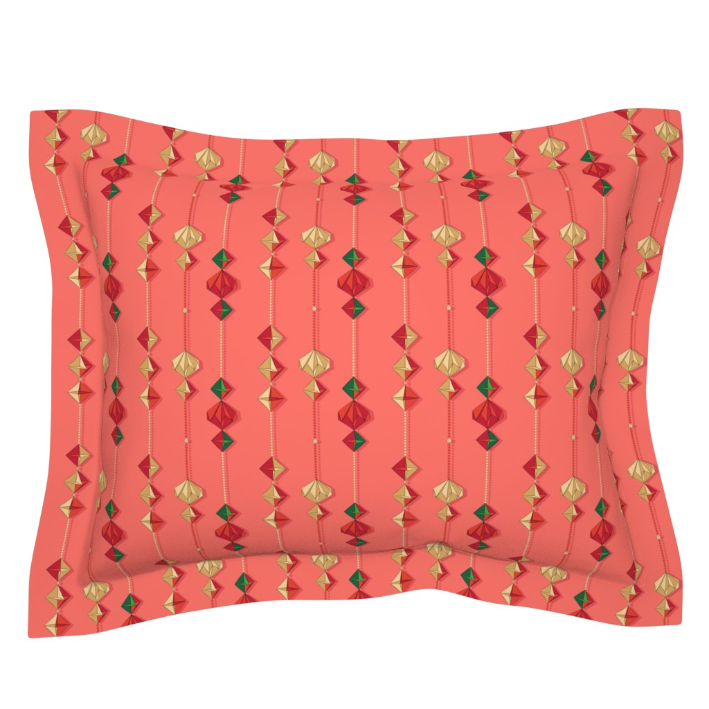 Sebright Pillow Sham featuring Paper decorations on coral by nadyabasos