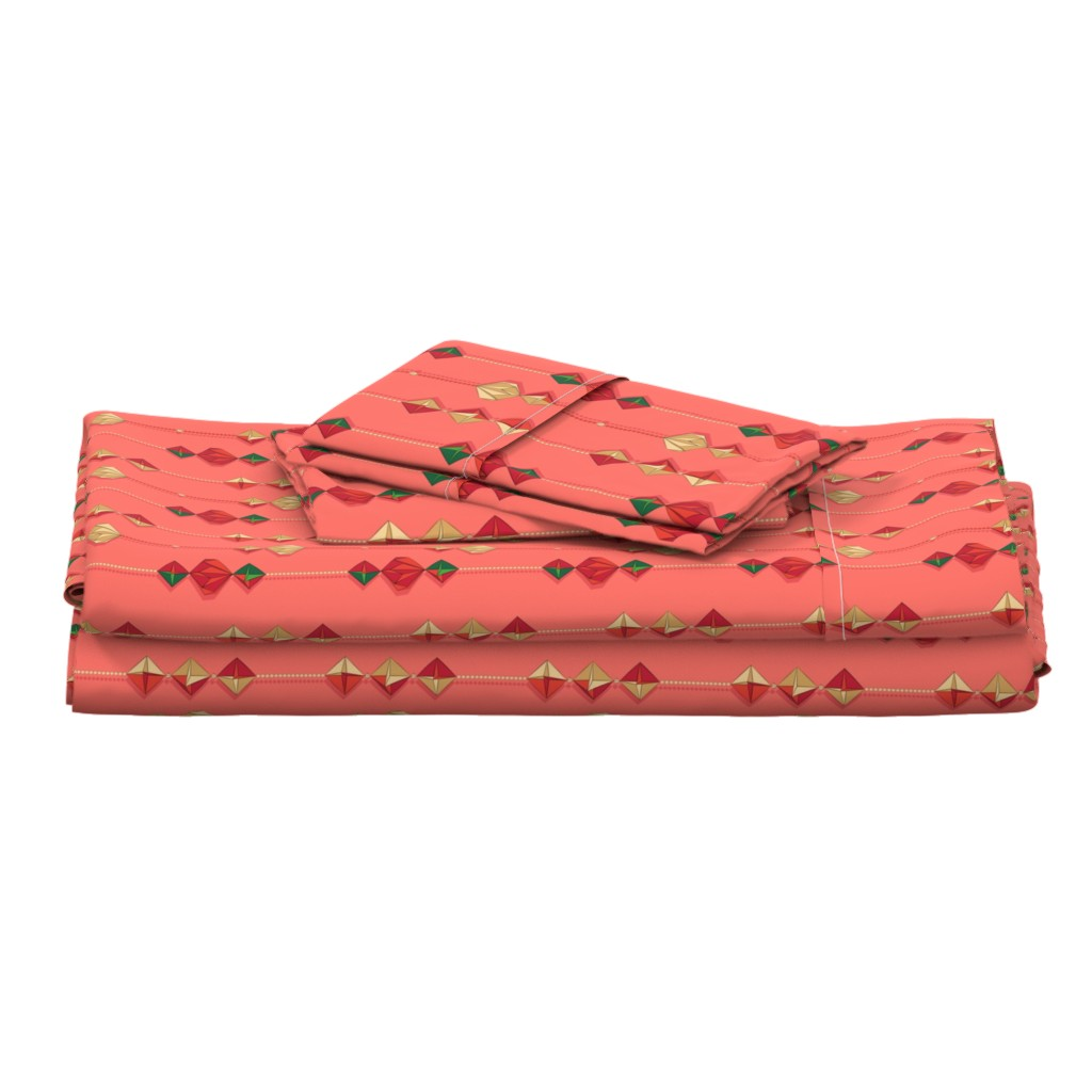 Langshan Full Bed Set featuring Paper decorations on coral by nadyabasos