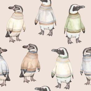 Fair Isle Penguins on pink