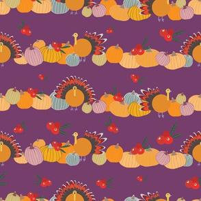 Thanksgiving pattern on plum background