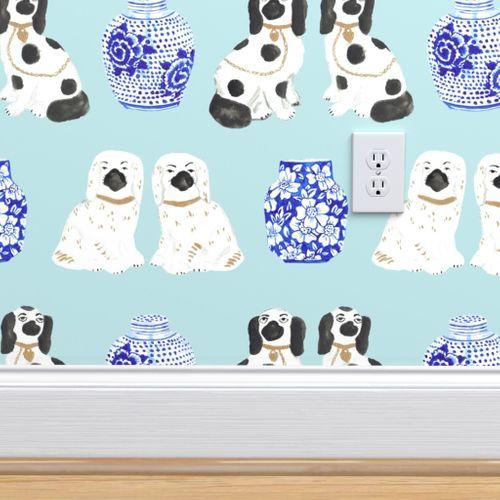 Removable Water-Activated Wallpaper Ginger Jars Delft Vases Staffordshire Dog