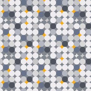 Gold and grey circles geometric pattern