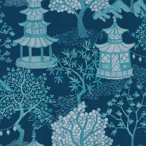 Pagoda Forest in Aqua on Teals