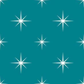 White Stars on Teal