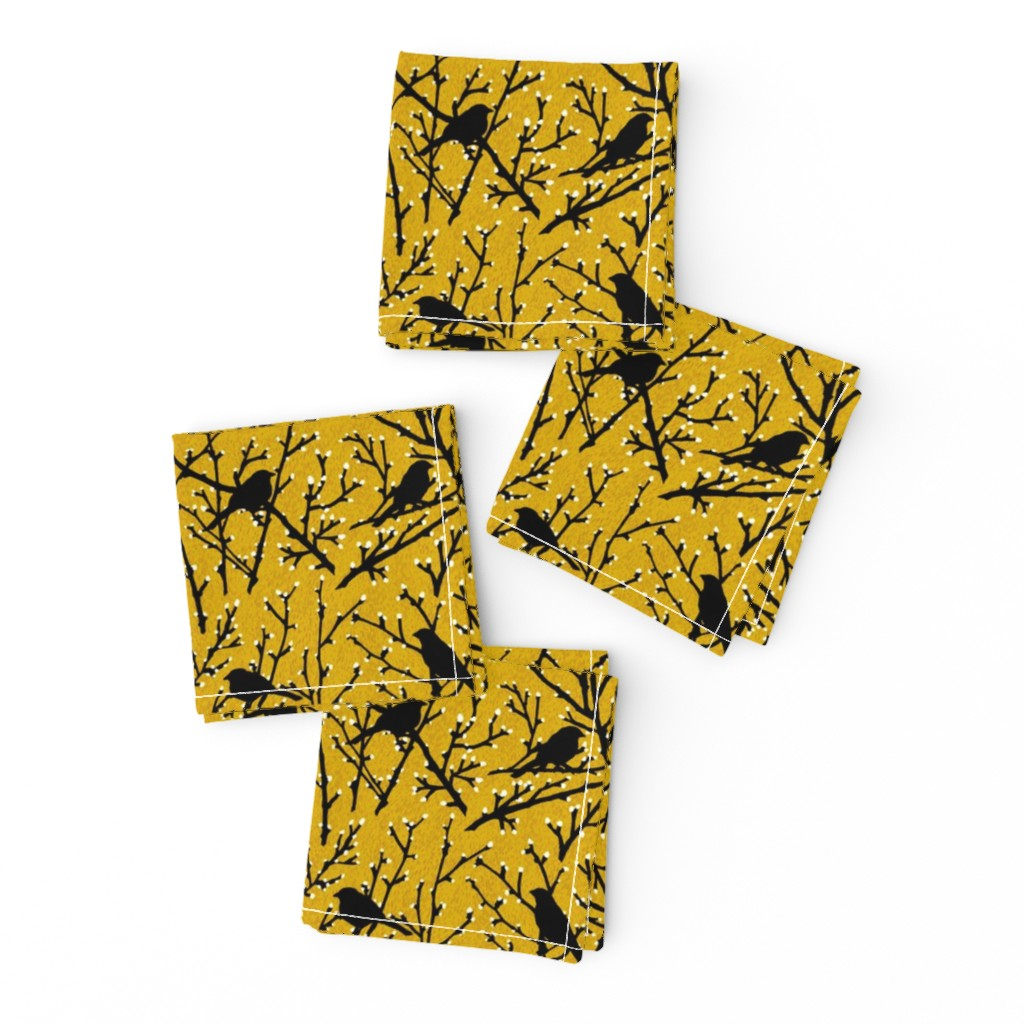 Frizzle Cocktail Napkins featuring branchy birds - mustard/black by cinneworthington