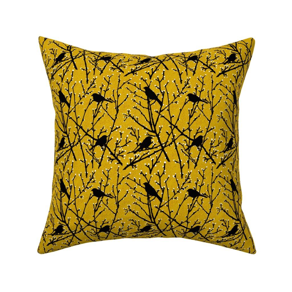 Catalan Throw Pillow featuring branchy birds - mustard/black by cinneworthington