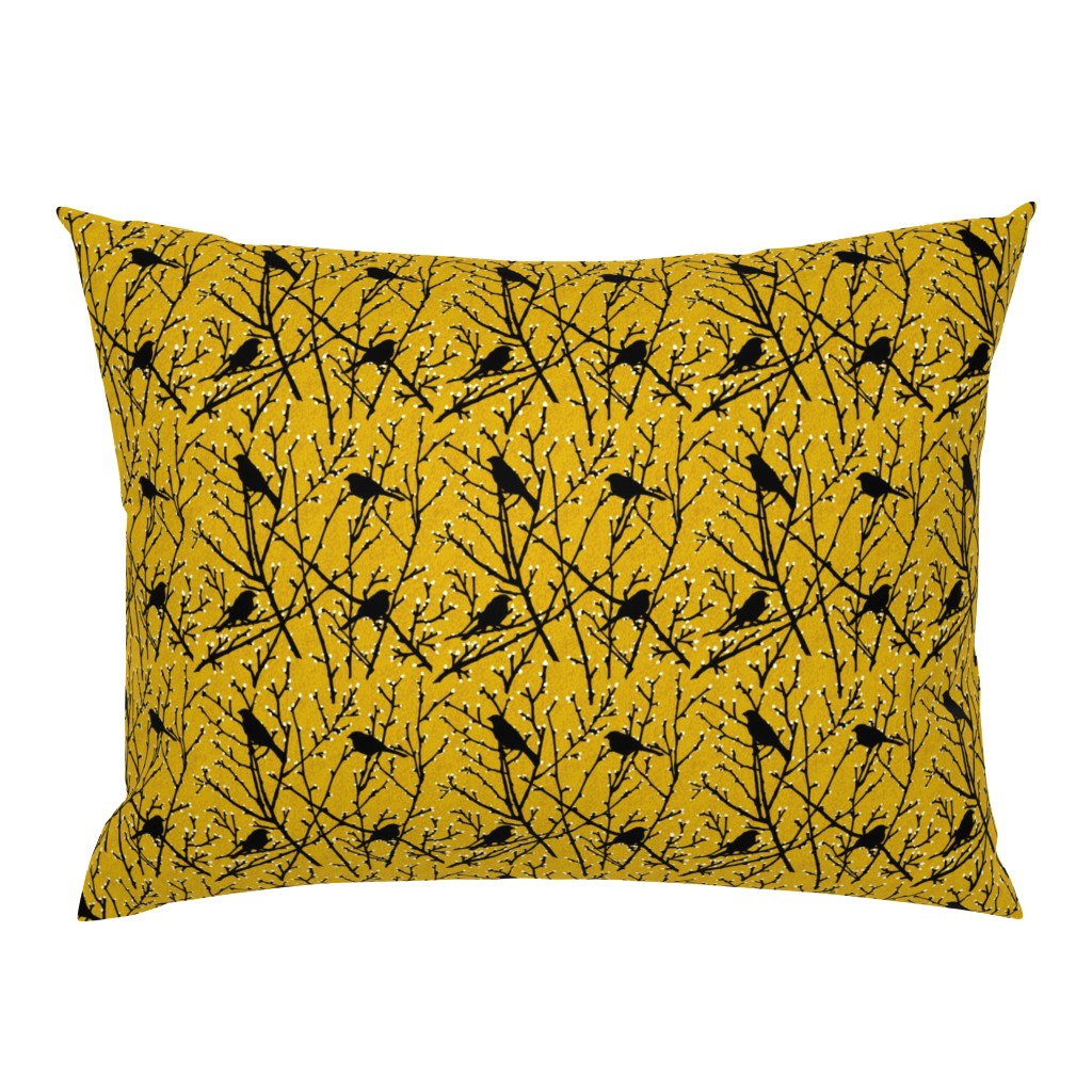 Campine Pillow Sham featuring branchy birds - mustard/black by cinneworthington