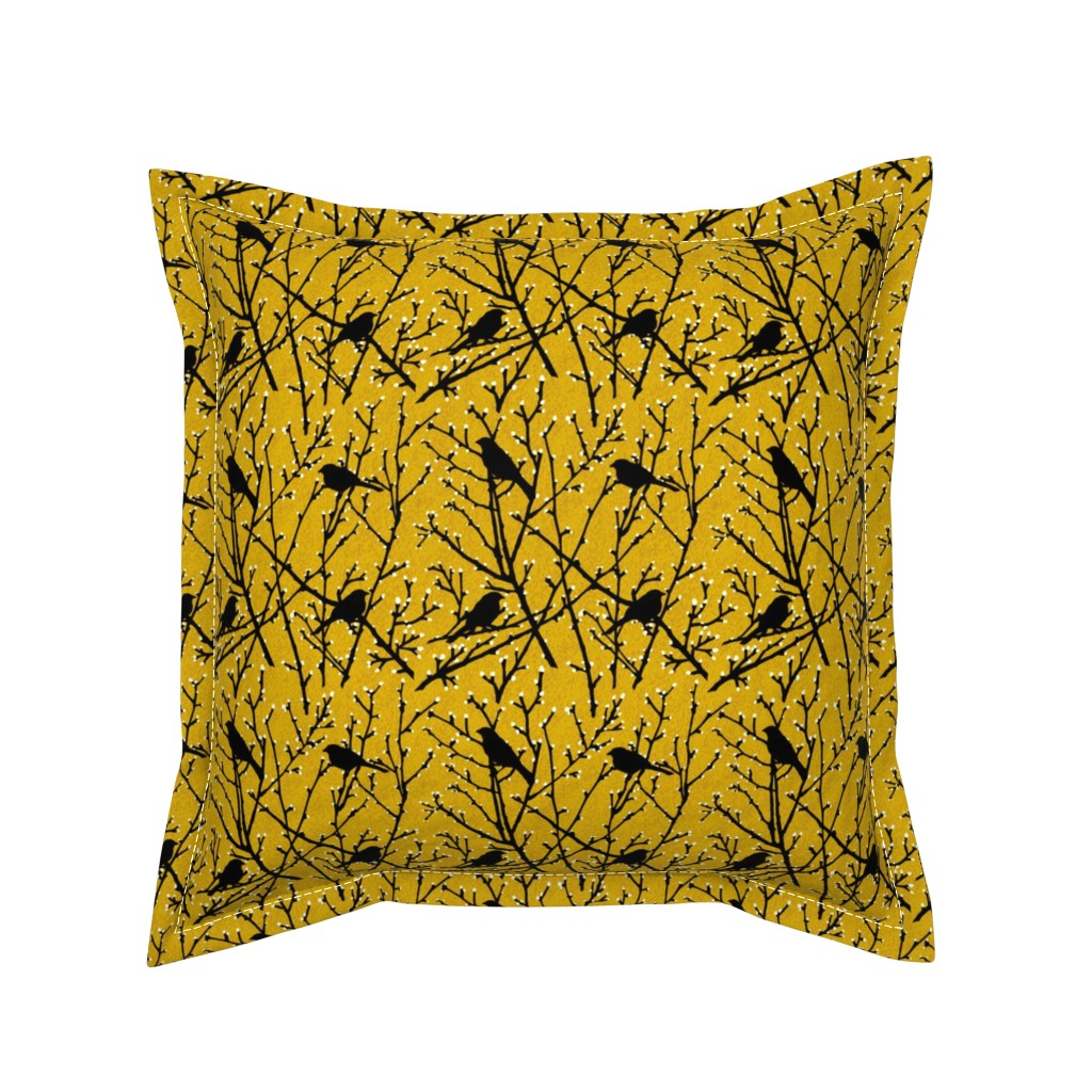 Serama Throw Pillow featuring branchy birds - mustard/black by cinneworthington
