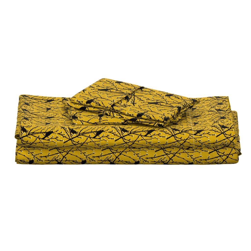 Langshan Full Bed Set featuring branchy birds - mustard/black by cinneworthington