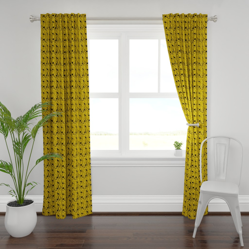 Plymouth Curtain Panel featuring branchy birds - mustard/black by cinneworthington