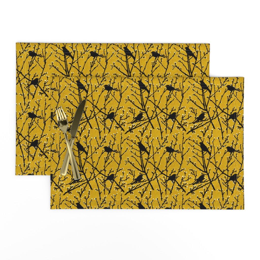 Lamona Cloth Placemats featuring branchy birds - mustard/black by cinneworthington