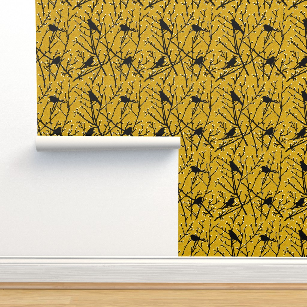 Isobar Durable Wallpaper featuring branchy birds - mustard/black by cinneworthington