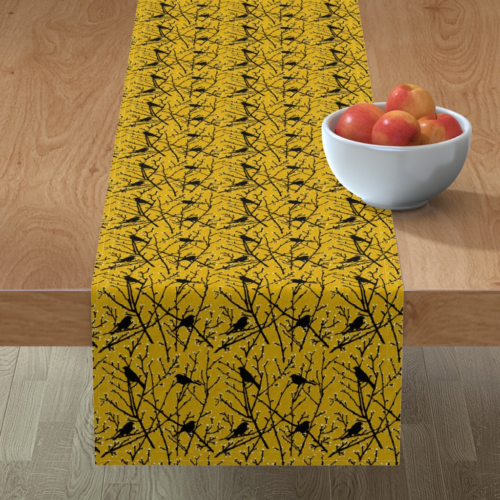 Minorca Table Runner featuring branchy birds - mustard/black by cinneworthington