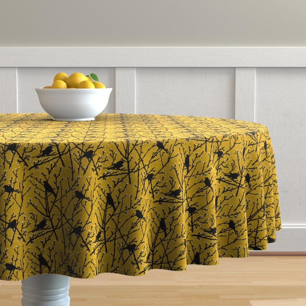 Malay Round Tablecloth featuring branchy birds - mustard/black by cinneworthington