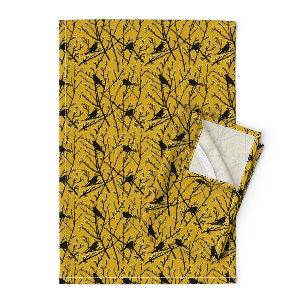 Orpington Tea Towels featuring branchy birds - mustard/black by cinneworthington