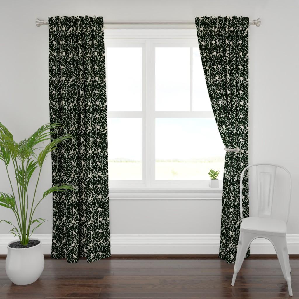 Plymouth Curtain Panel featuring branchy birds - grass black//gray/cream by cinneworthington