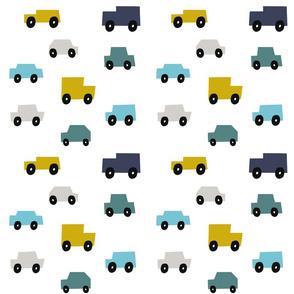 Cars traffic vehicles boys kids wheels pattern