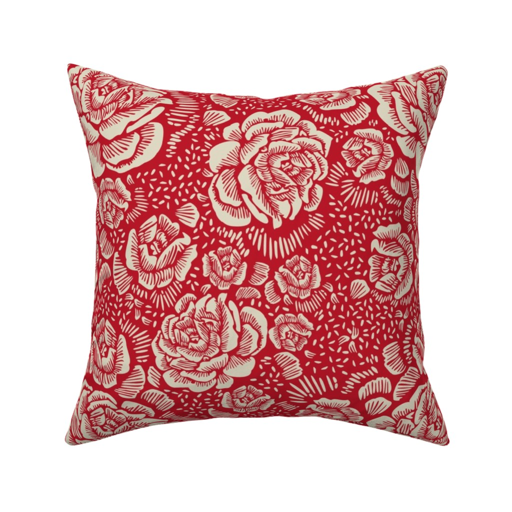 Catalan Throw Pillow featuring holiday rose by cinneworthington