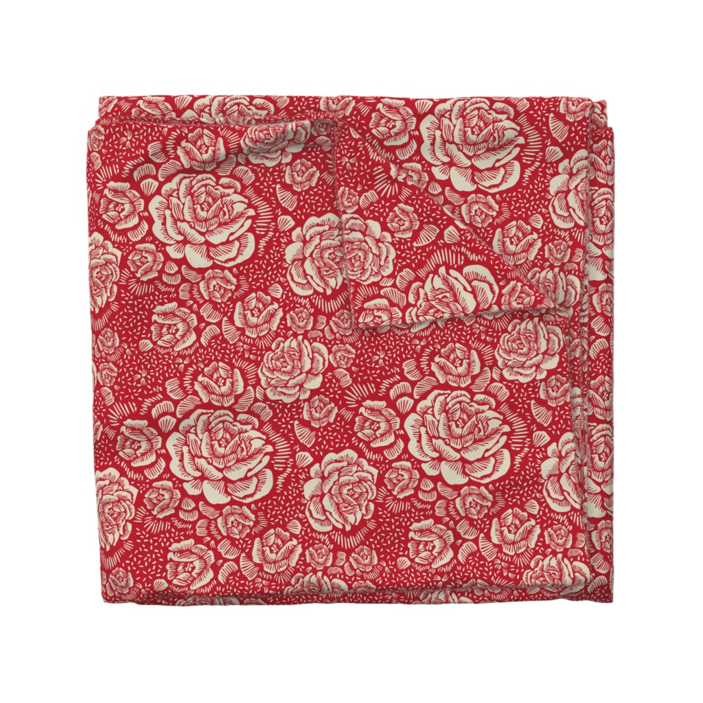 Wyandotte Duvet Cover featuring holiday rose by cinneworthington