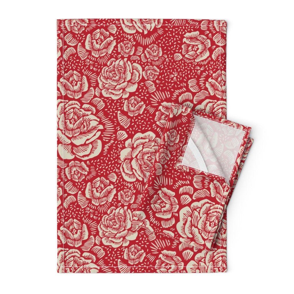 Orpington Tea Towels featuring holiday rose by cinneworthington