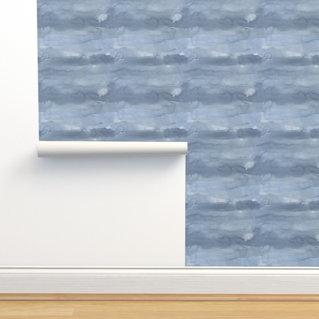 Isobar Durable Wallpaper featuring Blue Watercolor / Scandi Leaf by julia_dreams