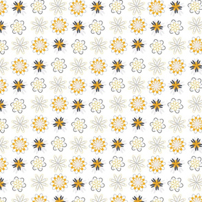 Gold and grey circular flowers pattern