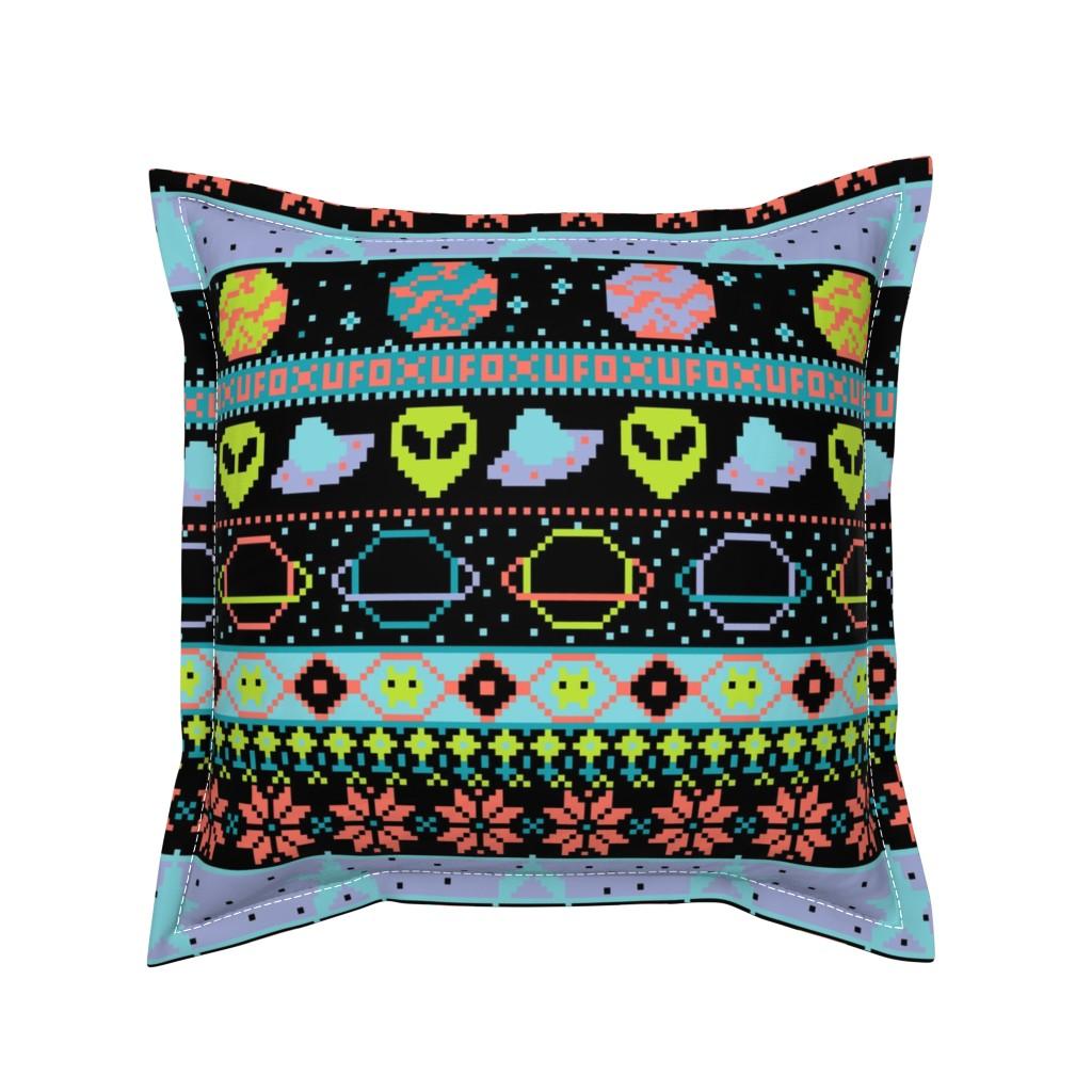 Serama Throw Pillow featuring Far-Out Galaxy Fair Isle Sweater by elliottdesignfactory