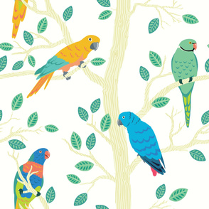 Parrot Birds in a Tree - Large Seamless Pattern