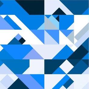 Blue Navy and White Retro Geometric