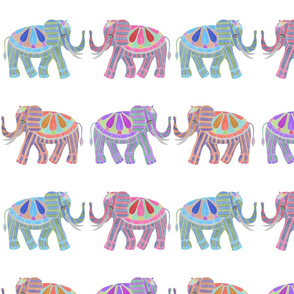 Colorful Elephants with Tusks
